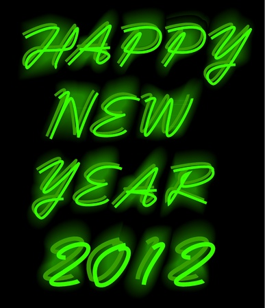 last year: illustrations of happy new year as neon light, vector format.