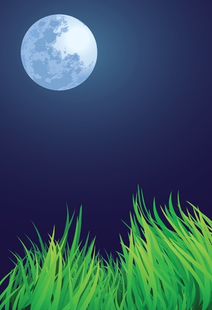 full moon night illustrations, blue moon and countryside setting. Vector