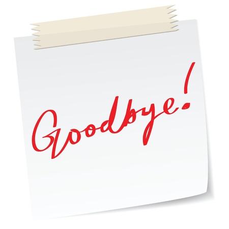 despedida: Adi�s mensaje en una nota de papel, en el mensaje de escritura a mano.