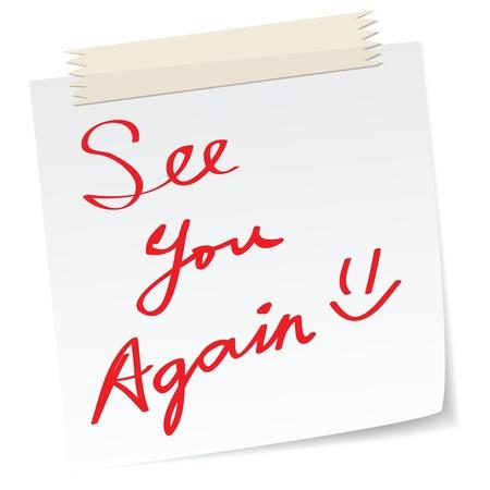 the farewell: Nos vemos de nuevo mensaje en una nota de papel, en el mensaje de escritura a mano. Vectores