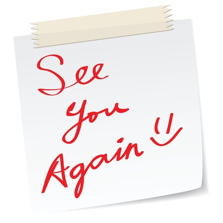 farewell: See you again message on a paper note, in handwriting message. Illustration