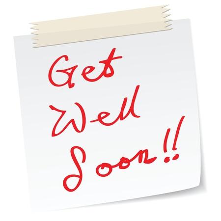 proximamente: get well soon mensaje en una nota de papel, en el mensaje de escritura a mano. Vectores