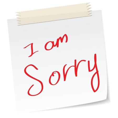 a handwritten notes with i am sorry, for apologies concepts Vettoriali