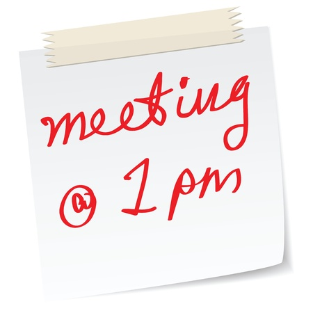 appointments: a handwritten notes with meeting appointments time