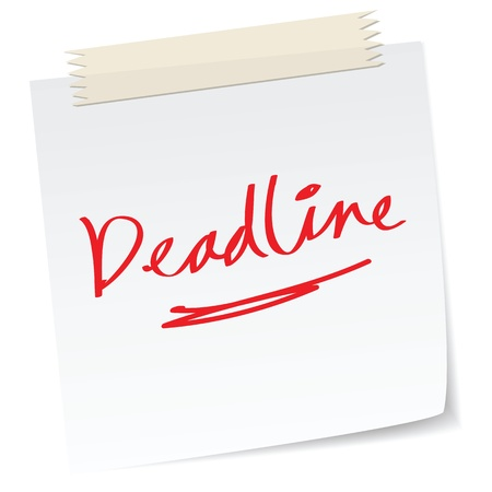 project deadline: a handwritten notes with deadline concepts Illustration