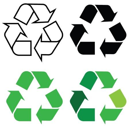 reciclar basura: Recicle la muestra en un formato diferente, para los entornos ecológicos. Vectores