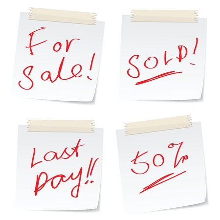 half price: handwritten message related to sale on paper notes.