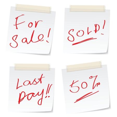 message manuscrit lié à la vente sur les billets papier.
