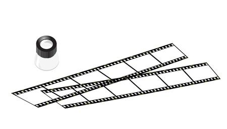 negatives: illustrations of slide loupe and slide films, old way of taking photos.