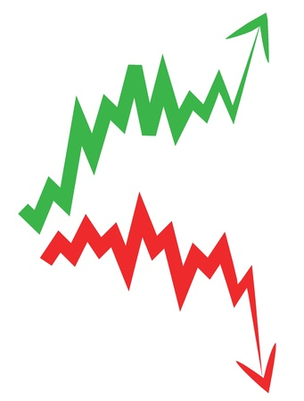 down arrow: stock market index arrow with upward and downward arrow.
