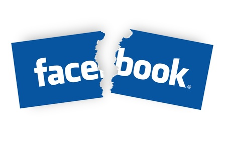 parental control: concepts of quit facebook, by tearing the facebook sticker half.