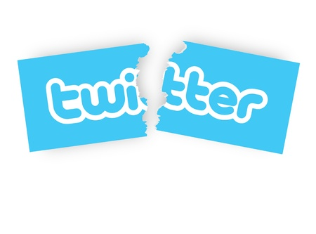 microblogging: concepts of quit twitter, by tearing the twitter sticker half.