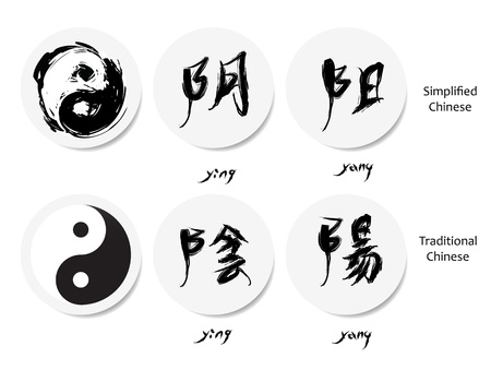 chinese philosophy: yin yang symbol and chinese character, oriental symbols.