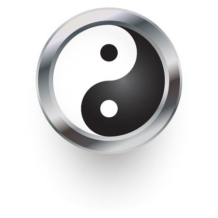 yang ying: yin yang symbol as button or badge. Illustration