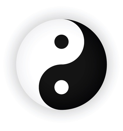 yin yang symbol as button or badge. Vector