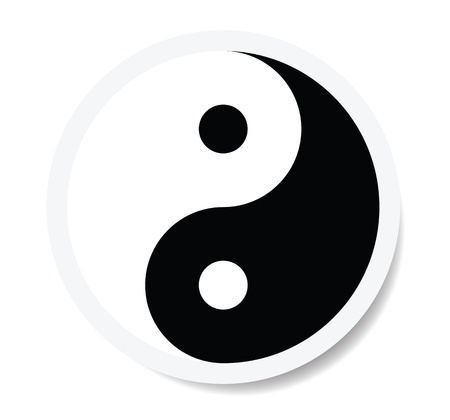 yin yang symbol as sticker. Vector