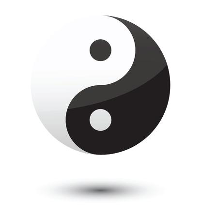 yin yang symbol as glossy icon. Stock Vector - 11821042