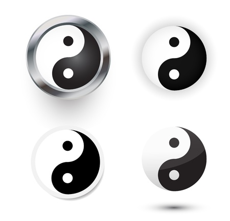 4 yin yang symbol as in different forms. Vector