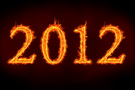 2012 sign on fire, to illustrate celebrations or so called doomsday. Stock Photo - 11821372