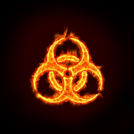 a burning biohazard sign with flames, for concepts. photo