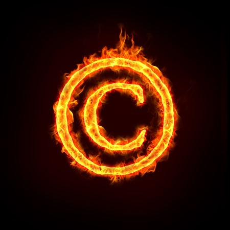 copyright symbol: a burning copyright notice sign with flame, for concepts.  Stock Photo