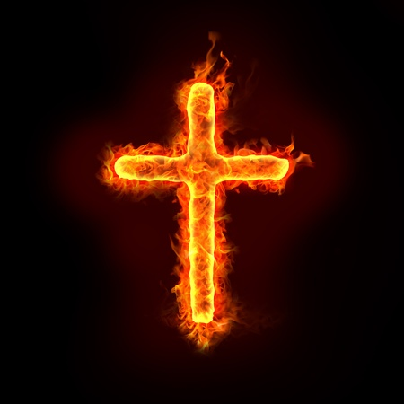 a burning christian cross sign with flames, for religion concepts photo