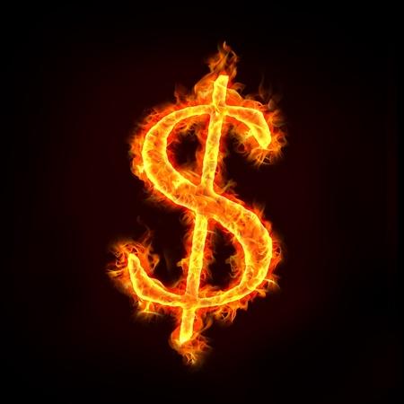 signos de pesos: signo de dólar en el fuego con las llamas, para los conceptos de dinero. Foto de archivo