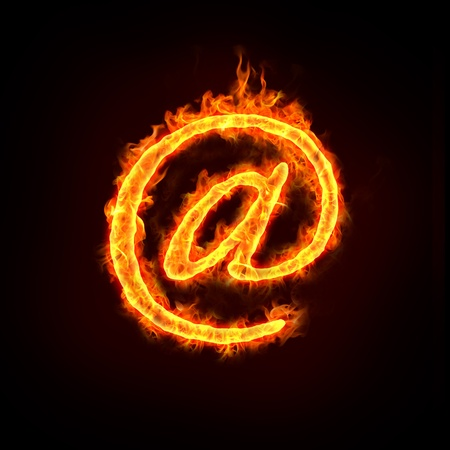 a burning at sign with flames, for email concepts. Stock Photo - 11821164