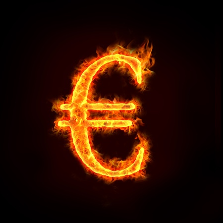 burning money: Euro sign in flames, check my profile for fire series.