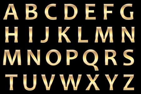 lettres en or: alphaets or fix�, avec r�alistes lettres d'or la surface de capitaux,.