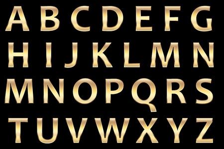 tipos de letras: alphaets oro conjunto, con una superficie real de oro, con may�sculas. Foto de archivo