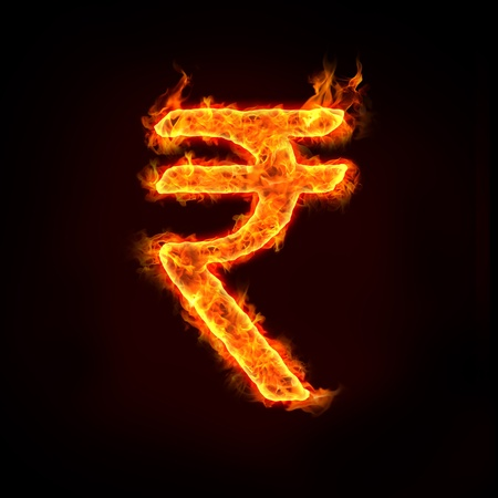 burning: indian rupee, india currency symbol.
