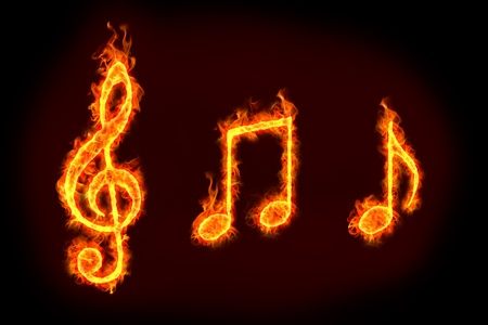 music notes sign in burning flames, for music related concepts