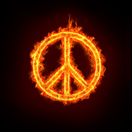 peace sign in burning fire flames. Stock Photo