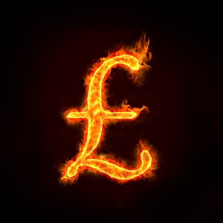 Pounds sign in flames, check my profile for fire series. Stock Photo - 11821111