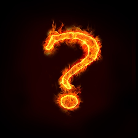 asking question: question mark in flame, for concept usage.