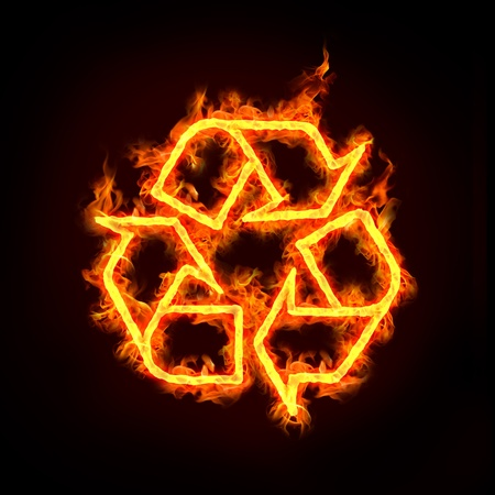 recycle concept, with a burning recycle sign. photo