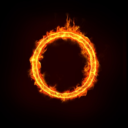fire show: jumping over the fire ring, for business concepts.