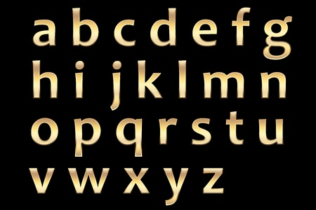 gold alphaets set, with realistic golden surface, small letters. Stock Photo - 11821161