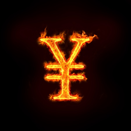 burning money: Japanese yen or chinese yuan sign in flames, check my profile for fire series. Stock Photo