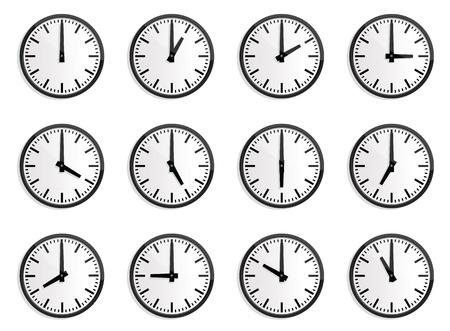 zone: illustraties van wandklok voor elk uur, voor de wereldvrede internationale tijd aan te geven.