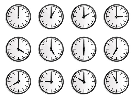 rush hour: illustrations of wall clock for every hours, to indicate world international time.