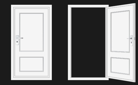 closed door: opened and closed door, for conceptual usage. Illustration