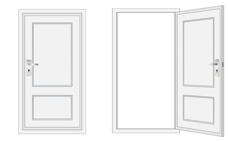 usage: opened and closed door, for conceptual usage. Illustration