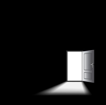 dark room: opened door with light coming in, mysterious concept. Illustration