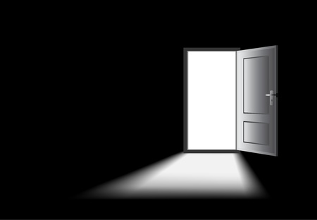 light shadow: opened door with light coming in, mysterious concept. Illustration