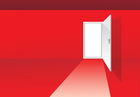 illustrations of a red room with opened door Vector