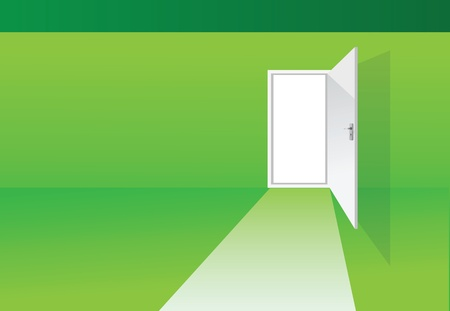 illustrations of a green room with opened door Vector