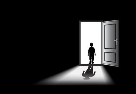 psicologia infantil: para ilustrar una pesadilla o el miedo de un niño, o en la niñez.