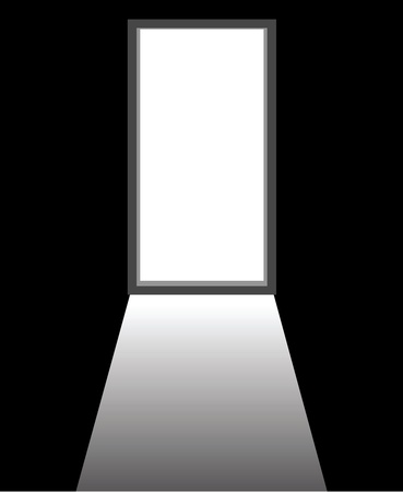 room door: an open door of a dark room. Illustration
